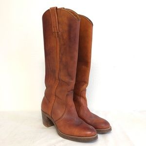 Frye Leather Riding Boots Brown Heels Western 7.5